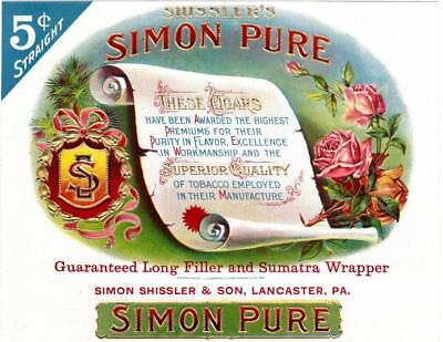 Simon Pure Original Vintage Unused Embossed Inner Cigar Box Label Simon Shissler