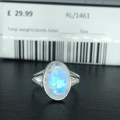 925 Sterling Silver Brilliant Oval Moonstone Gemstone Ring RRP £29.99 Gift Boxed