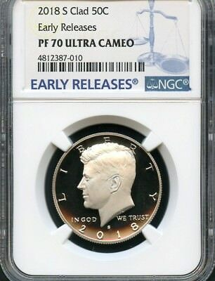 2018 S Clad Kennedy Half Dollar Early Releases NGC PF70 Ultra Cameo (BLUE)