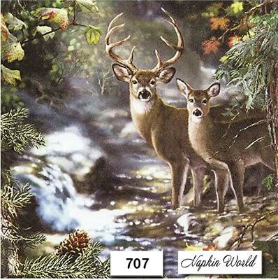 (707) TWO Individual Paper Luncheon Decoupage Napkins - FOREST, DEER, BUCK, DOE