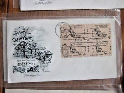Civil War Battle Of Shiloh Tennessee 1962 Stamp Block Artmaster Cachet Fdc #1179