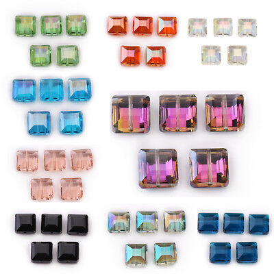 10 Glass Crystal Square Loose Beads Jewelry Bags Fashion Making Bead Spacer