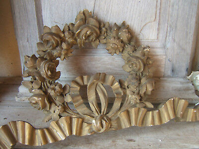 Antique French Hand Carved Pediment Ribbon Roses Crown Architectural Salvage