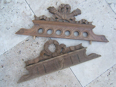 Two Antique Small French Carved Pediments Ribbons Flare Architectural Salvage