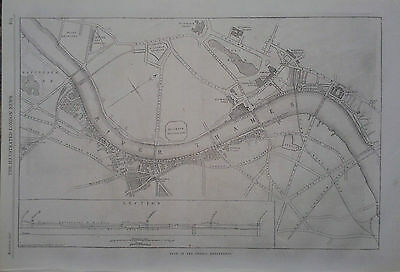 1862 Print Plan Of The Thames Embankment - From The International Exhibition