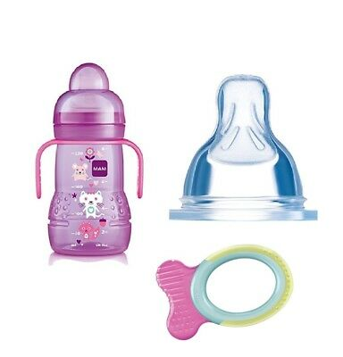 Mam 220 Ml Trainer Bottle With Handle (Pink), TEAT 3, Free Philips AVENT Teether