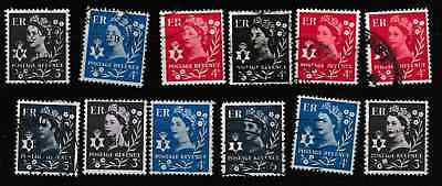 Northern Ireland - QE2 pre-decimal issues - 12 used stamps