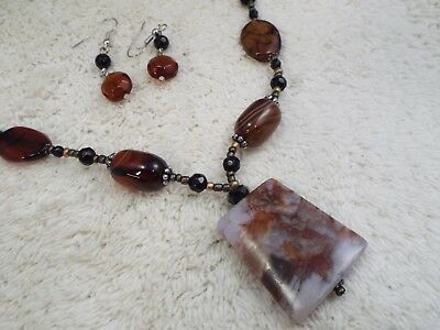 Amber Black Glass Brown Stone Bead Pendant Necklace + Pierced Earrings (A34)