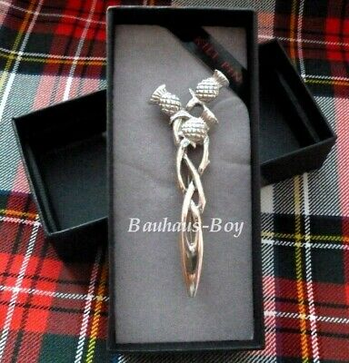 Kilt Pin Celtic Woven Triple Thistles Solid Pewter Made In Scotland Kiltwear New
