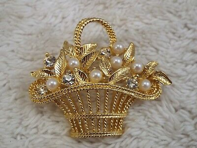 Goldtone Rhinestone Bead Basket Pin (A34)