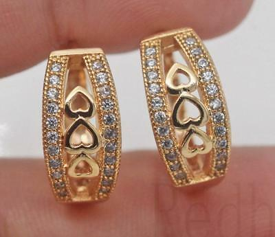 18K Gold Filled - Heart Hollow Geometry Clear Topaz Pageant Lady Hoop Earrings