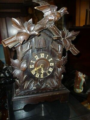 Victorian Carved Black Forest Cuckoo Mantle Clock For Spares Or Repair