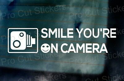 Smile Youre on Camera Dash Cam Car Van Window Bumper Funny Novelty Sticker Decal