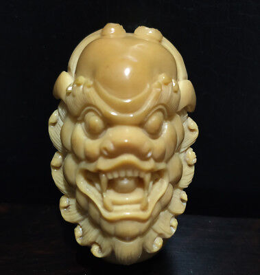 "TN1399 - 2"" Hand Carved Tagua Nut Carving Netsuke: Monster Man Mask"