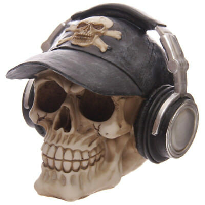 Novelty gruesome skull head money box skull wearing a baseball cap 14 cm