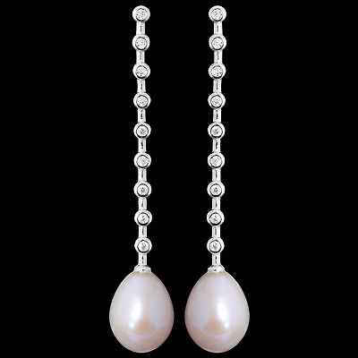 48X9Mm 100% Natural 11X9Mm White Freshwater Pearl Sterling Silver 925 Earring