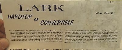 VINTAGE HAWK 1964 STUDEBAKER LARK CONV. MODEL CAR INSTRUCTION SHEET ONLY--60's