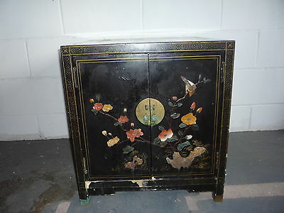 Old Chinese Wooden Lacquer Painted & Inlay Soapstone Table/Wardrobe/Cabinet