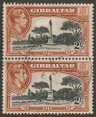 Gibraltar 1942 KGVI 2sh Black and Brown Perf 13 Pair Used SG128b with crease