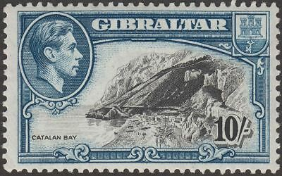 Gibraltar 1943 KGVI 10sh Black and Dark Blue Perf 13 Mint SG130a cat £42