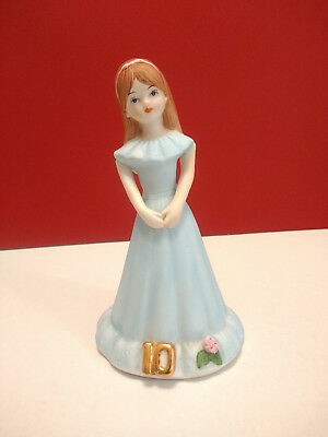 Enesco Growing Up Birthday Girls Age 10 Brunette Hair Figurine Cake Topper