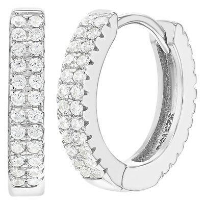 925 Sterling Silver Clear Cubic Zirconia Huggie Hoop Earrings for Women 0.59""