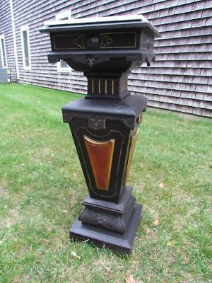 ANTIQUE 19c. AMERICAN VICTORIAN AESTHETIC GOLD  INCISED PEDESTAL FOR STATUE