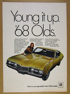 1968 Oldsmobile Olds Cutlass S Coupe yellow car photo vintage print Ad