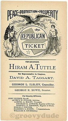 1890 Vintage New Hampshire Tuttle Taggart Rowe Republican Ticket Campaign Flyer
