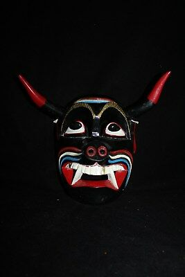 080 DEVIL BLACK MEXICAN WOODEN MASK diablo negro wall decor madera artesania