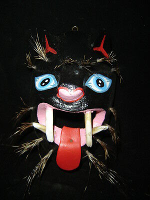 264 PANTERA MEXICAN WOODEN MASK wall decor panther artesania mexicana folk art