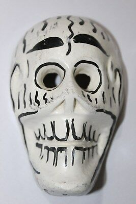 341 MINI SKULL MEXICAN WOODEN MASK calavera hand carved and painted artesania