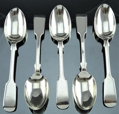 Rare Set 5 George Jackson David Fullerton, London Sterling Silver Teaspoons 1903