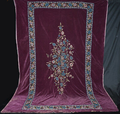 Antique Bedspread Burgandy Velvet Spread With Hand Embroidery Flowers King Size