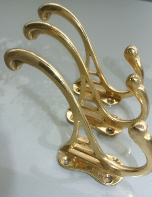 """3 heavy COAT HOOKS solid pure brass furniture vintage old style 4"""" DECO polished"""