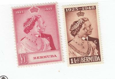 Bermuda # 133-134 Vf-Mnh Kgv1 1948 Silver Wedding Issues Lower Value Mxlh