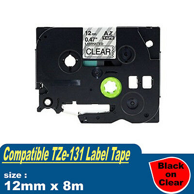 1x Laminated label tape compatible for Brother P-touch PT1005 Tz Tze 131 12mm 8m