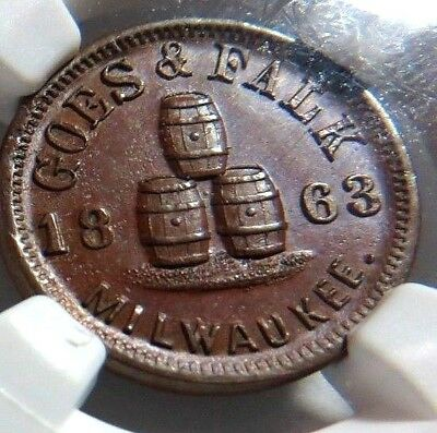 """1863 - Milwaukee's """" Goes & Falk, Brewery """"  510M - 1A  Ngc Ms - 63  R-4  - Nr"""