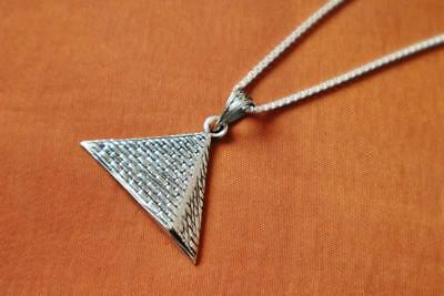 Antique Egyptian Sterling Silver Pendant Necklace Chain...Great Pyramids of Giza