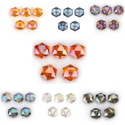 10Pcs Hexagon Crystal Glass Spacer Rondelle Loose Beads Necklace Making 14 18mm