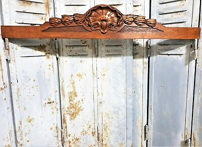 ARCHITECTURAL VICTORY PEDIMENT Antique french hand carved wood salvaged crest