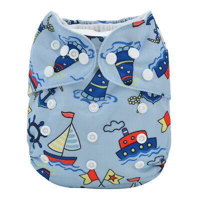 ALVA Mink All In One Double Gussets Diaper with Pocket Sewn-in Microfiber Insert