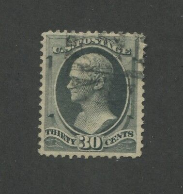 1874 United States 30 Cent Postage Stamp #165 Used VF Faded Postal Cancel