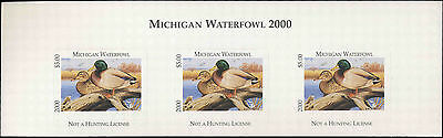 MICHIGAN #25T 2000 STATE DUCK STAMP TOP STRIP OF 3 MALLARDS by Rob Lawrence