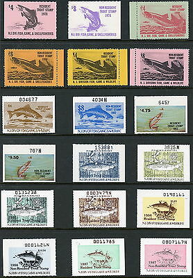 New Jersey Trout Stamps 1978 to 1987 - 18 Different Stamps S1330
