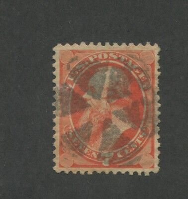 1873 United States 7 Cent Postage Stamp #160 Used Very Fine Fancy Postal Cancel