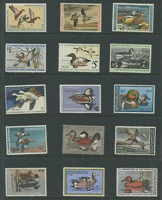 1971-1985 US Federal Duck Stamps #RW38-RW52 Mint Never Hinged Group CV