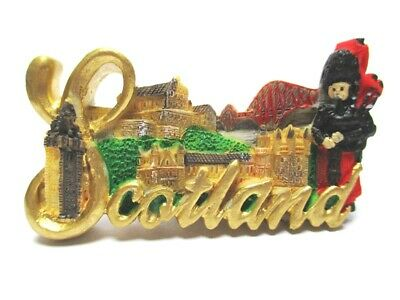 Schottland Magnet Schrift Dudelsack Castle Poly Souvenir Great Britain,Neu