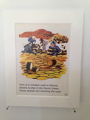 """Vintage book page mounted 10"""" by 8"""" ready to frame - Siberian Wooden Road Russia"""