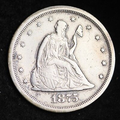 1875-S Seated Liberty Twenty Cent Piece CHOICE VF FREE SHIPPING E322 XBT